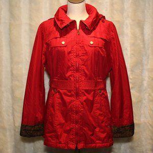 Weather Tamer Women's Red/Gold Rain Coat with hood